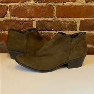 Green ankle booties